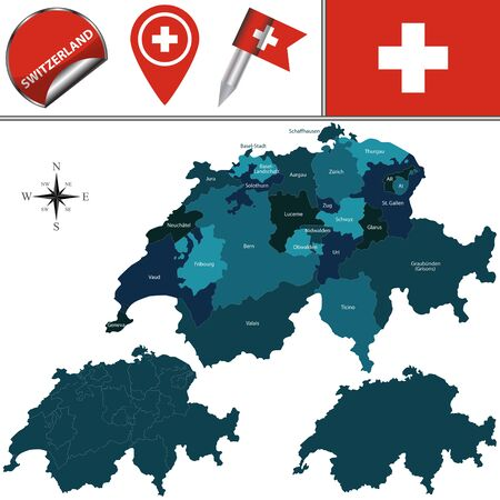 cantons: map of Switzerland with named cantons and travel icons