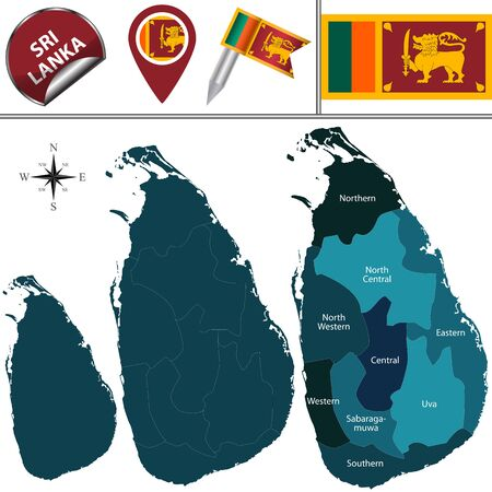 sri lankan flag: map of Sri Lanka with named provinces and travel icons Illustration