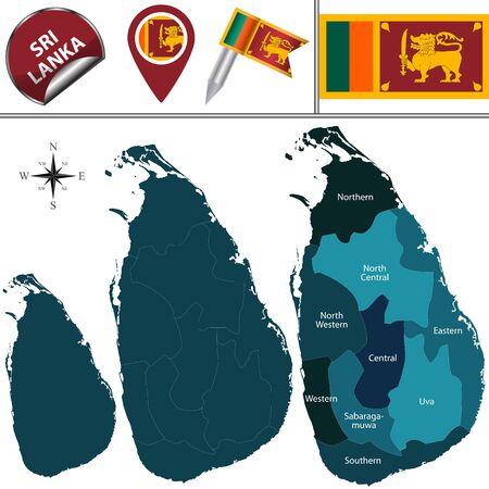 sri: map of Sri Lanka with named provinces and travel icons Illustration