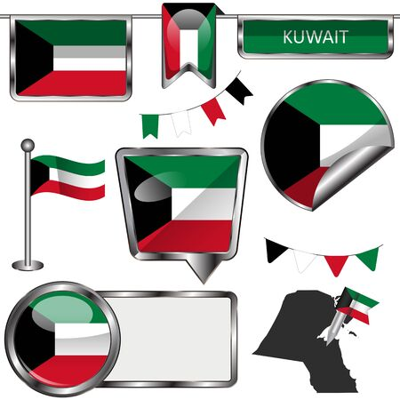 glossy icons: glossy icons of flag of Kuwait on white