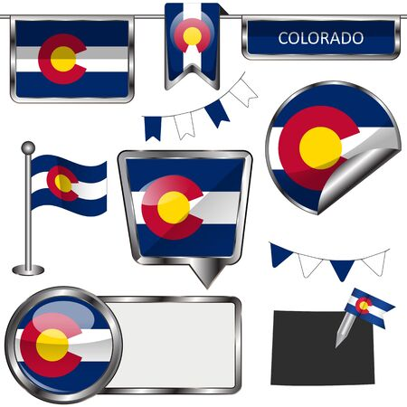 denver colorado: glossy icons of flag of state Colorado on white