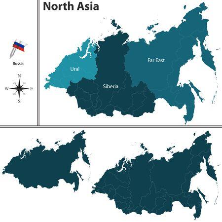 far east: mapa político del norte de Asia establecer con banderas en el fondo blanco