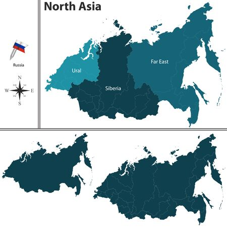 map of asia: political map of North Asia set with flags on white background