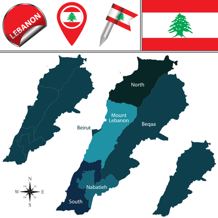named: map of Lebanon with named govern-orates and travel icons