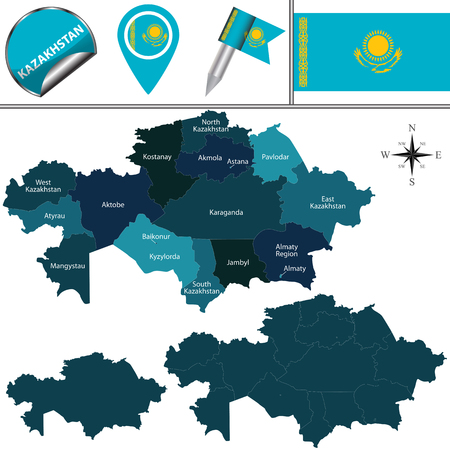 kazakhstan: map of Kazakhstan with named regions and travel icons Illustration