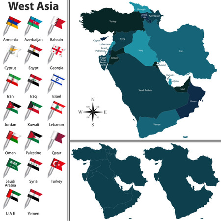 southwestern asia:  political map of West Asia set with flags on white background Illustration