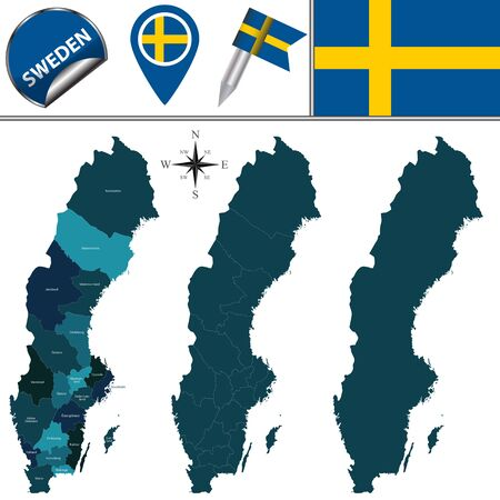 province: map of Sweden with named province and travel icons. Illustration