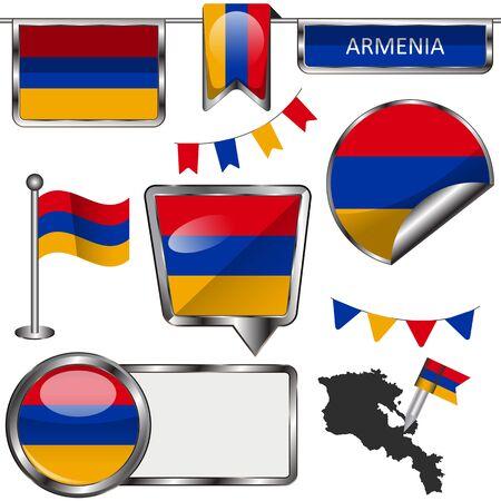 yerevan: glossy icons of flag of Armenia on white