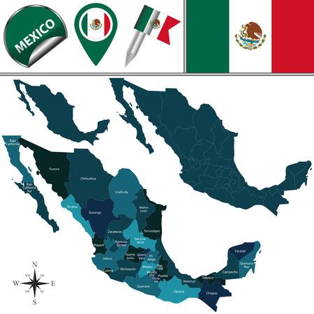 名前付き部門と旅行のアイコンでメキシコの地図  イラスト・ベクター素材