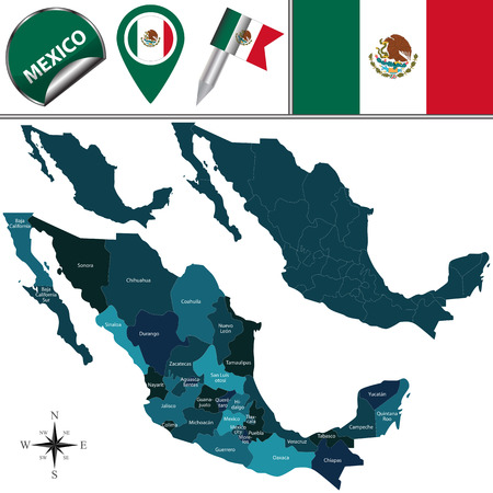 map of Mexico with named divisions and travel icons Illustration