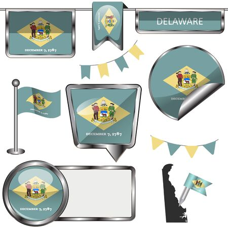 dover: glossy icons of flag of state Delaware on white Illustration