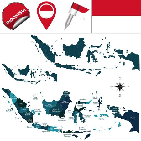 indonesia: map of Indonesia with named regions and travel icons Illustration