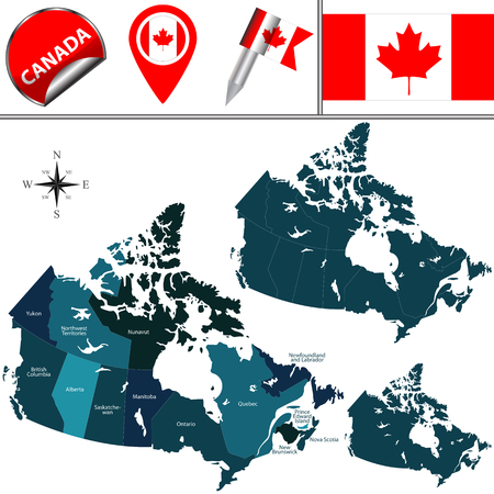 edward: map of Canada with named provinces, territories and travel icons
