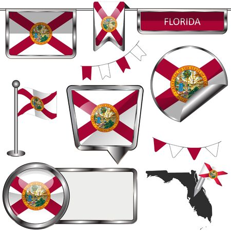 tallahassee: glossy icons of flag of state Florida on white