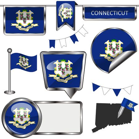 glossy icons: glossy icons of flag of state Connecticut on white Illustration