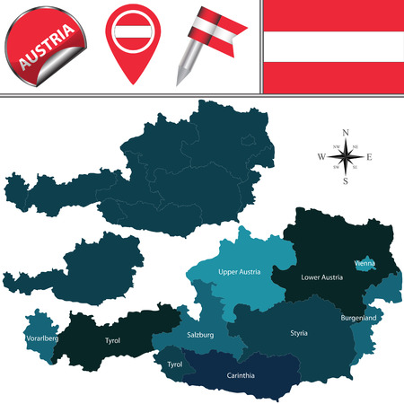 tyrol: Vector map of Austria with named states and travel icons.