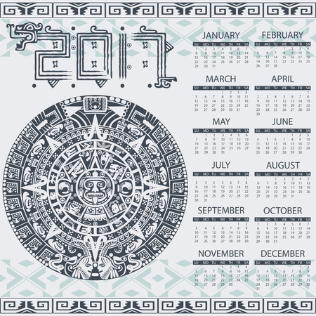 calendar: Vector calendar 2017 in aztec style