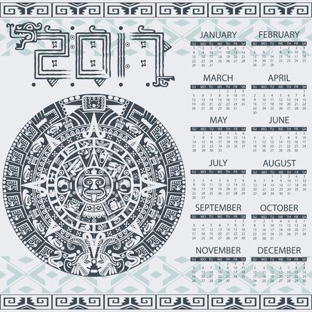 cultura maya: Vector calendario 2017 en estilo azteca