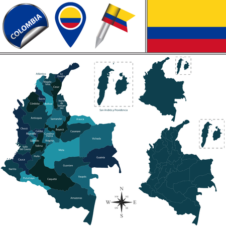 Vector map of Colombia with named departments and travel icons