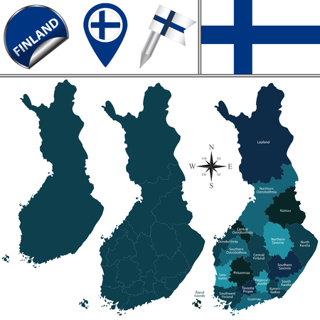 finland: Vector map of Finland with named regions and travel icons.