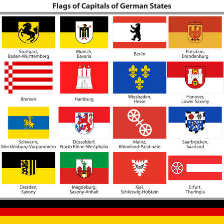 capitals: Flags of Capitals of German States on white background