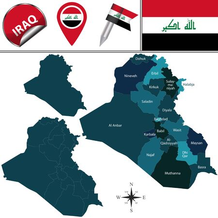 basra: Vector map of Iraq with named governorates and travel icons