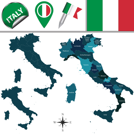 region: Vector map of Italy with named regions and travel icons
