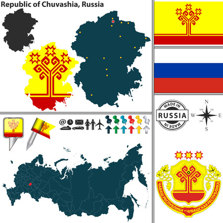 republic: Vector map of state Republic of Chuvashia with coat of arms and location on Russian map