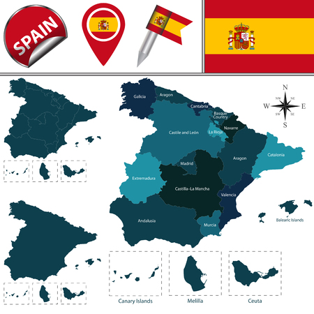 named: Vector map of Spain with named communities and travel icons