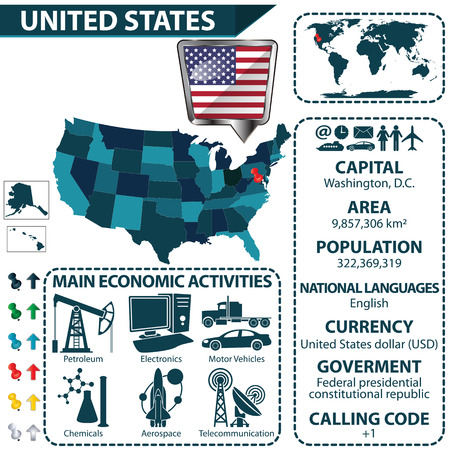statistical: Vector of United States map with statistical data and main economic activities