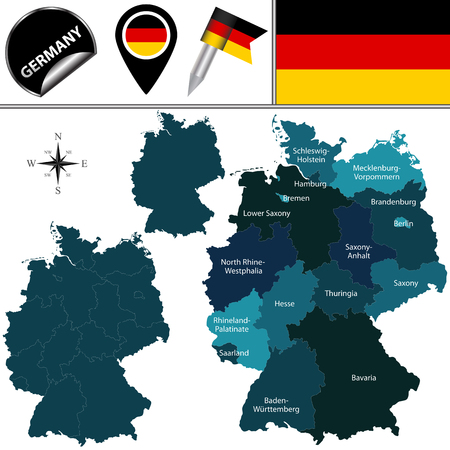 named: Vector map of Germany with named states and travel icons.
