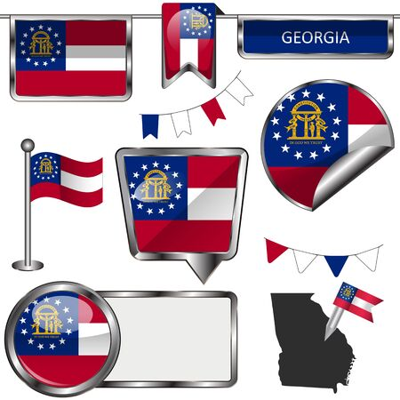 glossy icons: Vector glossy icons of flag of state Georgia on white