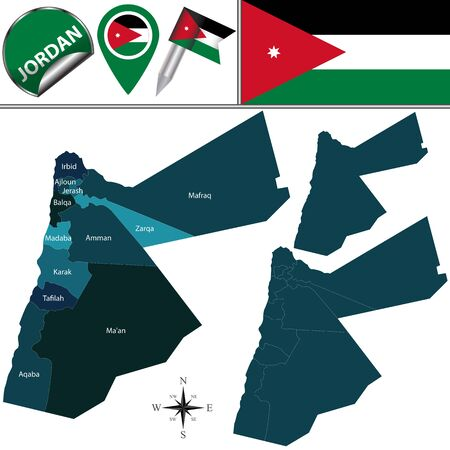 named: Vector map of Jordan with named governorates and travel icons
