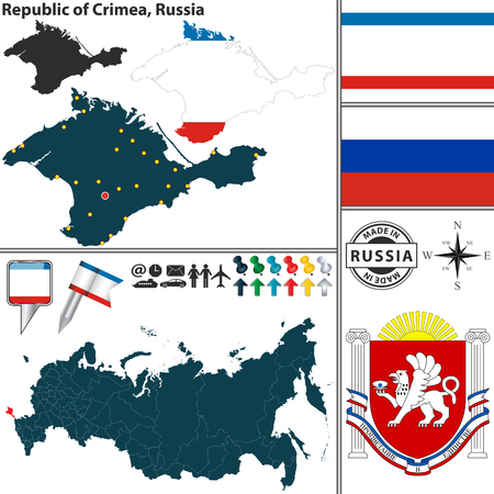 crimea: Vector map of state Republic of Crimea with coat of arms and location on Russian map
