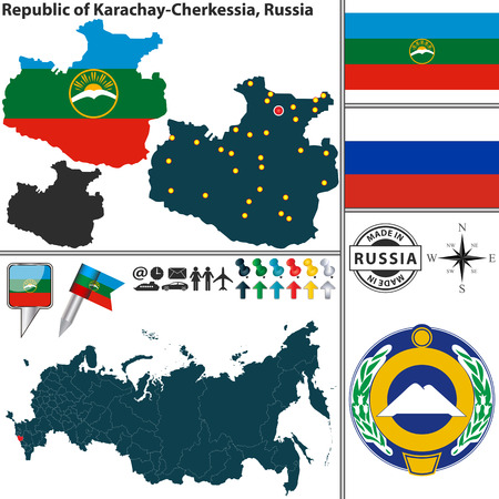 state: Vector map of state Republic of Karachay Cherkessia with coat of arms and location on Russian map