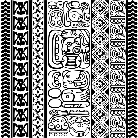 Vector set of Mayan and aztec glyphs with ancient characters and ornaments on white  イラスト・ベクター素材