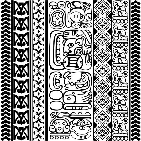 Vector conjunto de glifos mayas y aztecas con caracteres antiguos y adornos en blanco Ilustración de vector