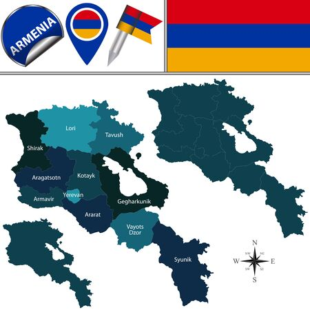 Vector map of Armenia with named province and travel icons