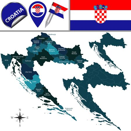 Vector map of Croatia with named counties and travel icons