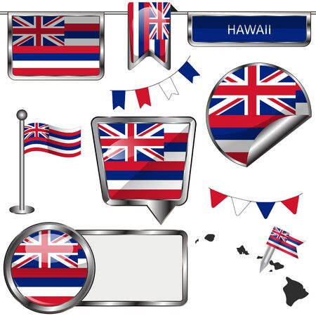 united states: Vector glossy icons of flag of state Hawaii on white