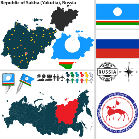 Vector map of Republic of Sakha Yakutia with coat of arms and location on Russian map