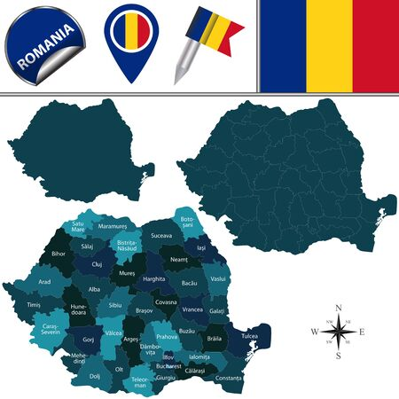 counties: Vector map of Romania with named counties and travel icons