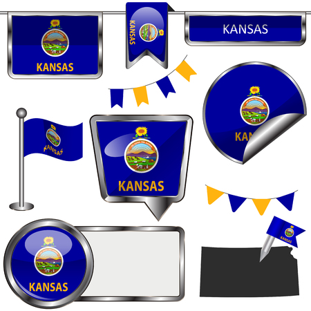 Vector glossy icons of flag of state Kansas on white Çizim
