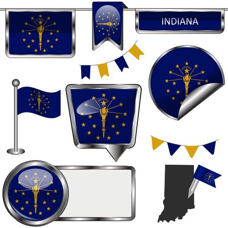 indiana: Vector glossy icons of flag of state Indiana on white