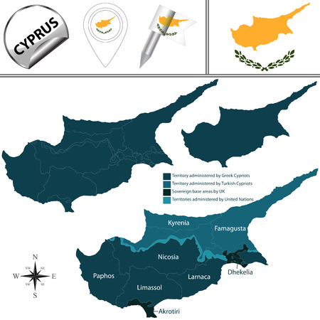 named: Vector map of Cyprus with named districts and travel icons.
