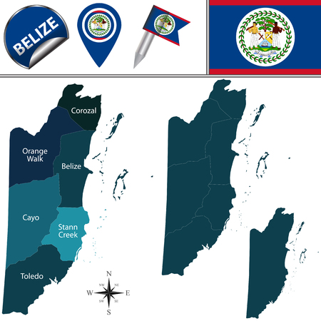 districts: Vector map of Belize with named districts and travel icons