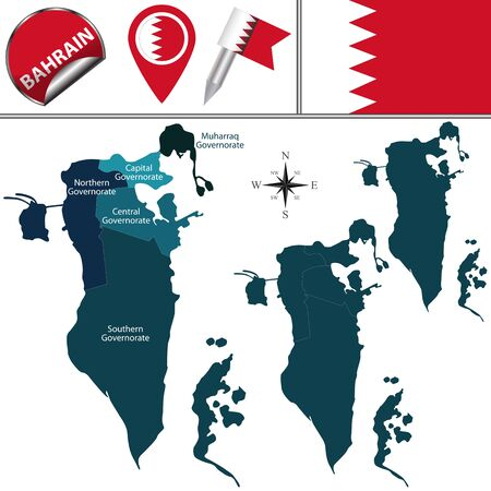 Vector map of Bahrain with named regions and travel icons