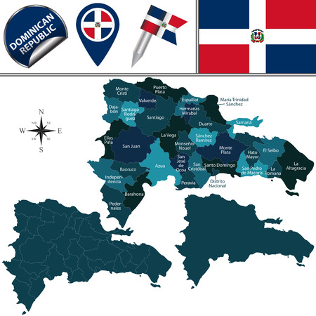 named: Vector map of Dominican Republic with named provinces and travel icons