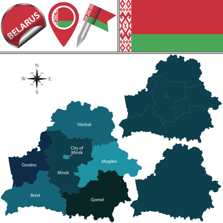 state boundary: Vector map of Belarus with named regions and travel icons.
