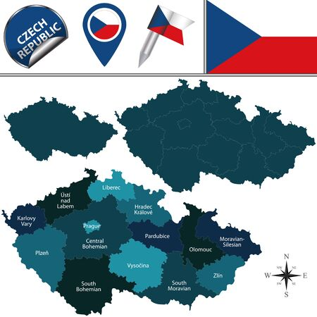 czech: Vector map of Czech Republic with named regions and travel icons.